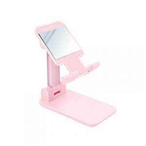 Stojánek pro mobil se zrcadlem - plast, barva růžová