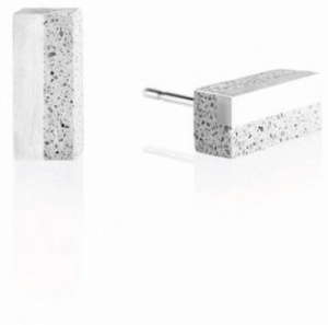 Náušnice z betonu a oceli Block Steel GJEWSSG004UN