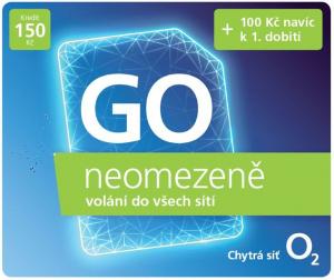 Předplacená SIM karta O2 s kreditem 20 Kč + 100 Kč, neomezené volání a internet za 20 Kč/den
