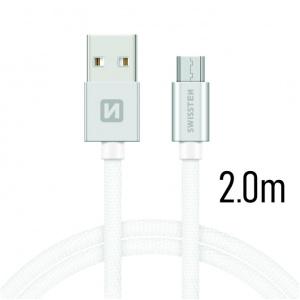 DATOVÝ KABEL SWISSTEN TEXTILE USB / MICRO USB 2,0 M STŘÍBRNÝ