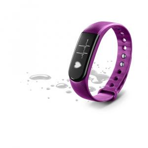 Bluetooth fitness náramek s monitorem srdečního tepu CellularLine EASYFIT TOUCH HR,  fialový