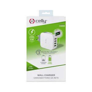 Cestovní nabíječka CELLY TURBO s 4 x USB výstupem, 4,8 A, bílá