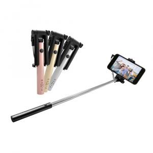 Kompaktní selfie stick FIXED Snap Mini, spoušť přes 3,5 mm jack, růžovozlatý