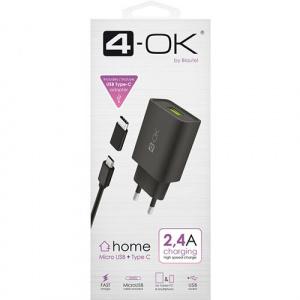 SÍŤOVÝ ADAPTÉR 4-OK USB 2,4 POWER + DATOVÝ KABEL MICRO USB + ADAPTER TYPE C