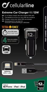 Set USB autonabíječky a odolného Lightning kabelu Cellularline Tetra Force 12W, MFI certifikace, černá
