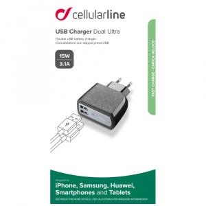 Cestovní USB nabíječka CellularLine, 3,1A/15W, 2xUSB, černá