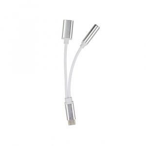 Adaptér HF/audio + nabíjení micro USB TYP-C barva stříbná