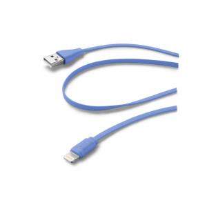 Plochý USB datový kabel CellularLine s konektorem Apple Lightning, MFI, modrý