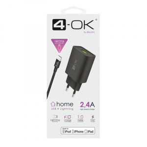 SÍŤOVÝ ADAPTÉR 4-OK USB 2,4 POWER + DATOVÝ KABEL LIGHTNING LICENSE APPLE