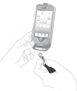 POjistný pásek Interphone s karabinou vhodný pro pouzdra řady SM, černý