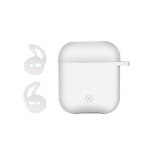 Ochranné pouzdro na sluchátka Airpod CELLY Aircase + sportovní nástavce do uší, bílé