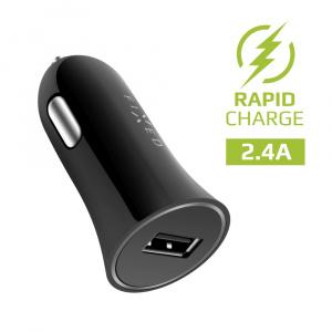 Autonabíječka FIXED s odnímatelným micro USB kabelem, 2,4A, černá
