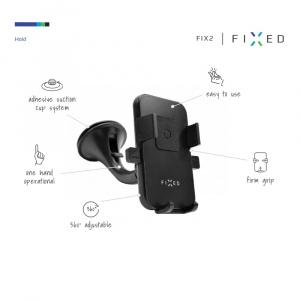 Univerzální držák FIXED FIX2 s přísavkou, pro smartphony větších rozměrů o šířce 6,5-8,5 cm