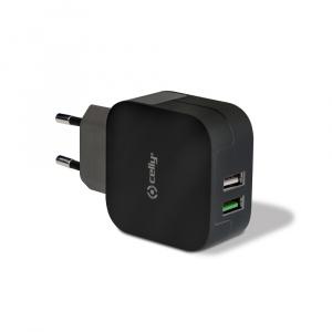 Cestovní nabíječka CELLY TURBO s 2 x USB výstupem, 3,4 A, černá