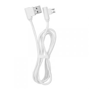 Datový kabel micro USB koncovky pravý úhel 90 barva bílá