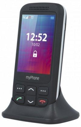myPhone HALO S Black / černý + nabíjecí stojánek (výsuvný)