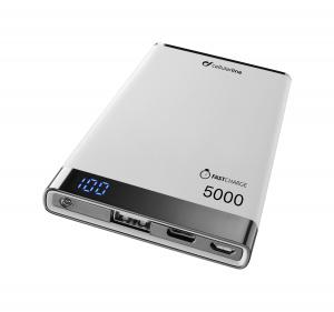 Prémiová powerbanka CellularLine FREEPOWER MANTA S, 5000mAh, USB-C + USB port, bílá