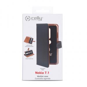 Pouzdro typu kniha CELLY Wally pro Nokia 7.1, PU kůže, černé