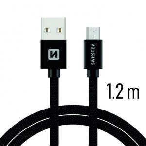 DATOVÝ KABEL SWISSTEN TEXTILE USB / MICRO USB 1,2 M ČERNÝ