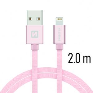 DATOVÝ KABEL SWISSTEN TEXTILE USB / LIGHTNING 2,0 M RŮŽOVO/ZLATÝ