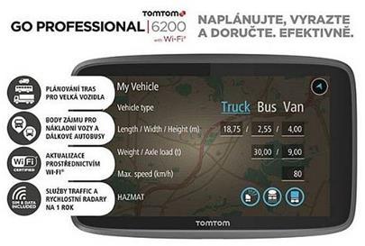 navigace GPS TomTom GO Professional 6200 Europe LIFETIME mapy (WiFi)