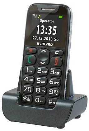Evolveo EP-500 EasyPhone, Black pro seniory + nabíjecí stojánek
