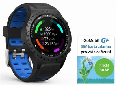 Hodinky GPS EVOLVEO SportWatch M1S HR Blue (GPS,SIM) + SIMkarta GoMobil