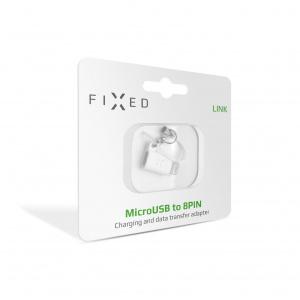 Redukce FIXED Link pro nabíjení a datový přenos z microUSB na Lightning, bílá