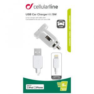 Autonabíječka CellularLine s USB výstupem + USB kabel Lightning, MFI, 1A, bílá