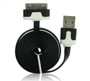 Data kabel plochý Apple iPhone 3G, 3Gs, 4G 1m, černá (BULK)