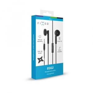 Pecková sluchátka FIXED EGG2 s mikrofonem a organizérem, černá