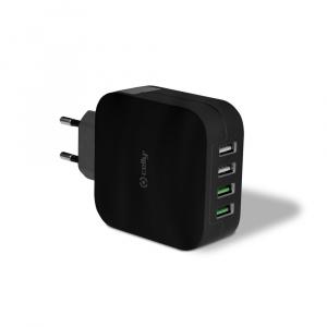 Cestovní nabíječka CELLY TURBO s 4 x USB výstupem, 4,8 A, černá