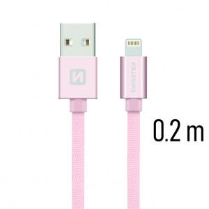 DATOVÝ KABEL SWISSTEN TEXTILE USB / LIGHTNING 0,2 M RŮŽOVO/ZLATÝ