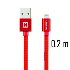 DATOVÝ KABEL SWISSTEN TEXTILE USB / LIGHTNING 0,2 M ČERVENÝ
