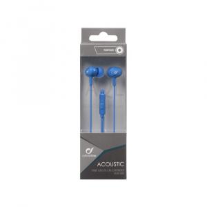 In-ear sluchátka CELLULARLINE ACOUSTIC s mikrofonem, AQL® certifikace, 3,5 mm jack, modré