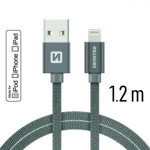 DATOVÝ KABEL SWISSTEN TEXTILE USB / LIGHTNING MFi 1,2 M ŠEDÝ