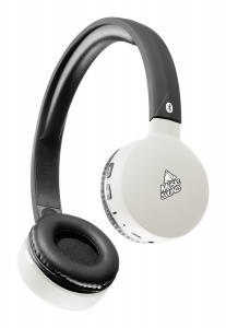 Bluetooth sluchátka MUSIC SOUND s hlavovým mostem a mikrofonem, černo-bílá