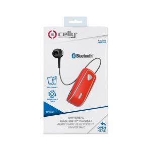 Bluetooth headset CELLY SNAIL s klipem a navijákem kabelu, červený