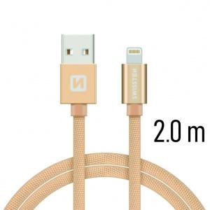 DATOVÝ KABEL SWISSTEN TEXTILE USB / LIGHTNING 2,0 M ZLATÝ