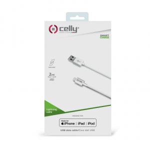 Datový USB kabel CELLY pro přístroje Apple s konektorem Lightning, 2M, bílý