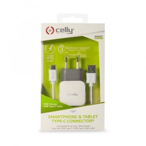 Set CELLY Turbo cestovní USB nabíječky a kabelu USB typu C, 2,4 A, bílá