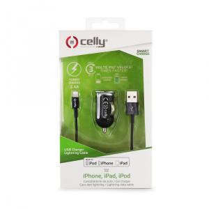 Set CELLY Turbo autonabíječky s USB konektorem a Lightning kabelu, 2,4 A, černá