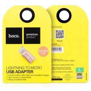 Redukce HOCO micro USB / iPhone Lightning barva rose gold