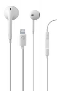 In-ear slucháítka CellularLine GLACE s mikrofonem a konektorem Lightning, bílá