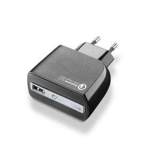 Cestovní nabíječka CELLULARLINE QUALCOMM QUICK CHARGE 3.0, 18W, černá