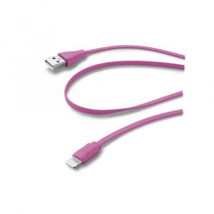Plochý USB datový kabel CellularLine s konektorem Apple Lightning, MFI, růžový