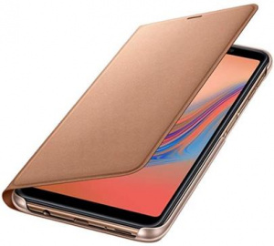 Pouzdro Samsung Wallet EF-WA750PF pro Galaxy A7 2018 (SM-A750), Gold/zlatá