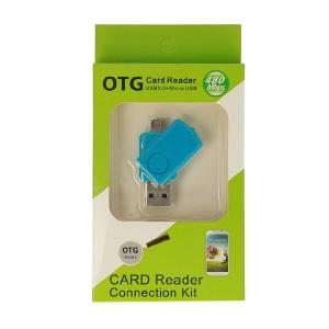 Čtečka microSD - výstup USB + micro USB barva modrá