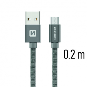 DATOVÝ KABEL SWISSTEN TEXTILE USB / MICRO USB 0,2 M ŠEDÝ