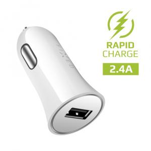 Autonabíječka FIXED s odnímatelným USB-C kabelem, 2,4A, bílá
